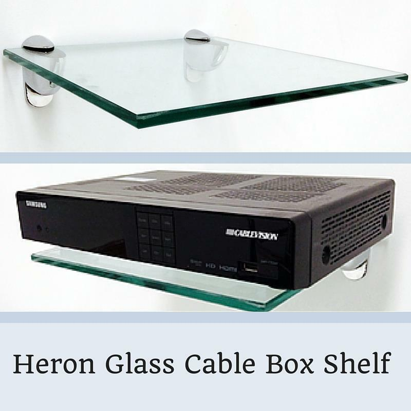 heron cable box glass shelf kit 3 8 tempered glass shelf with 2 shelf brackets ebay. Black Bedroom Furniture Sets. Home Design Ideas
