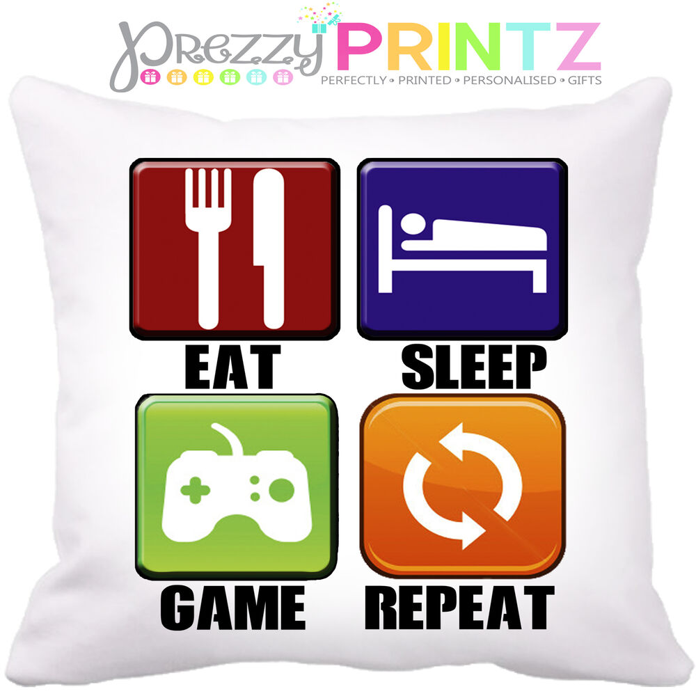 Details About EAT SLEEP GAME REPEAT CUSHION CHRISTMAS BIRTHDAY FATHERS DAY BOYS HUSBAND GIFT