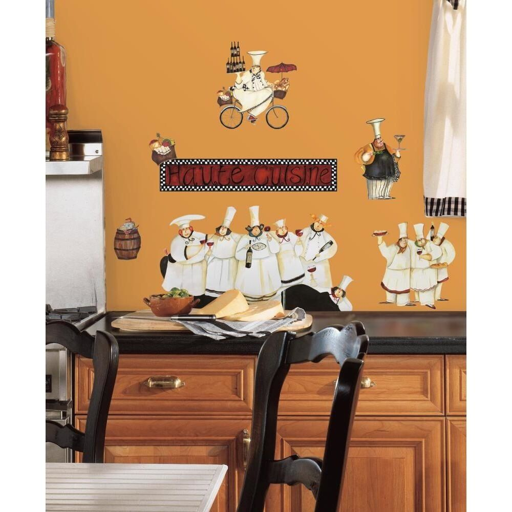 Fat Chef Kitchen Accessories: New Italian Fat CHEFS Peel & Stick Wall Decals Kitchen
