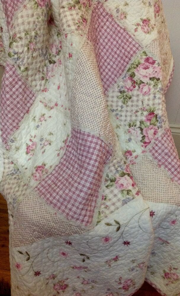 Shabby Chic French Country Throw Quilt Rug Blanket Pink