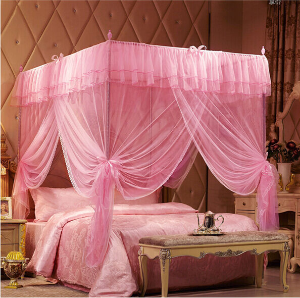 Pink luxury princess four corner post bed canopy mosquito for Bed with mosquito net decoration