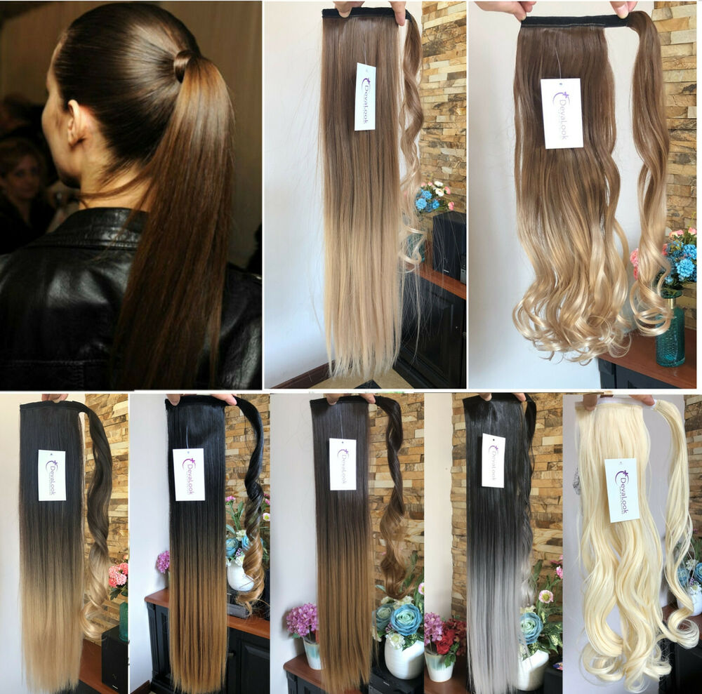 dip dye ombre wrap around ponytail clip in hair extensions. Black Bedroom Furniture Sets. Home Design Ideas