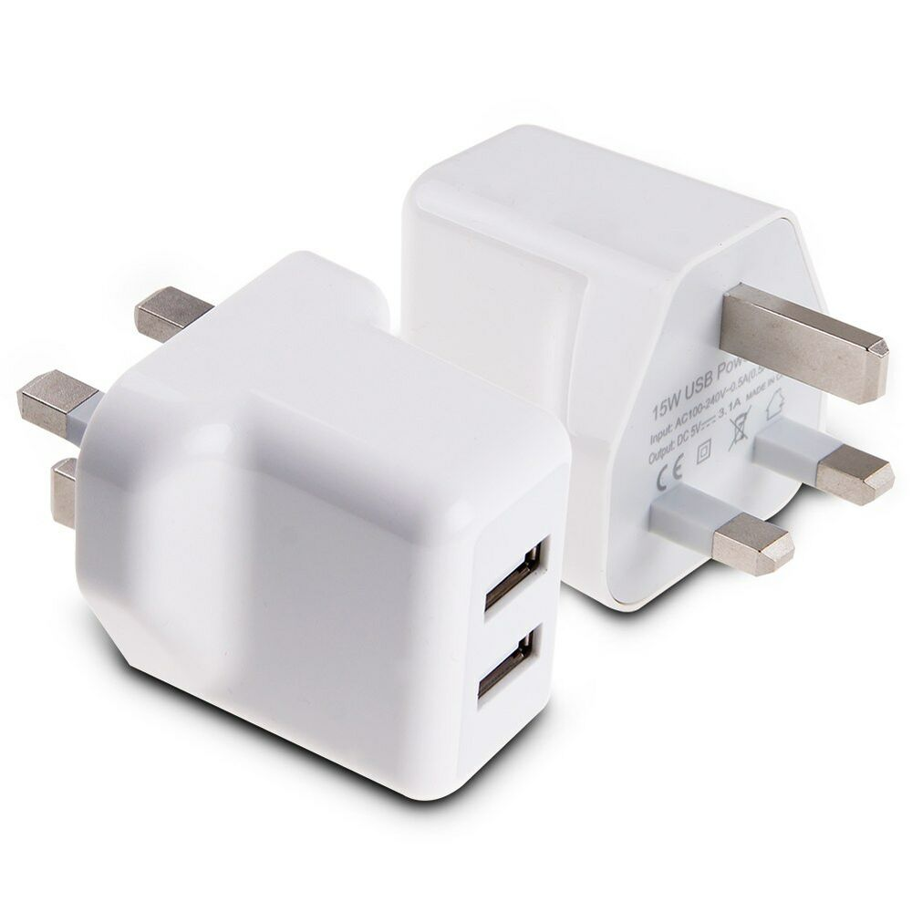 15w 5v 3a amp fast dual twin 2 port usb charger uk mains wall plug adapter 3 pin ebay. Black Bedroom Furniture Sets. Home Design Ideas