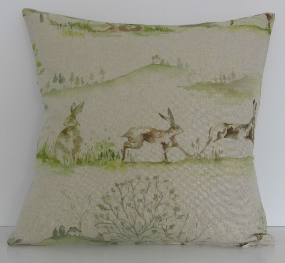 "Details about   Voyage Boxing Hares Rabbits Trees 16"" Cushion Cover"