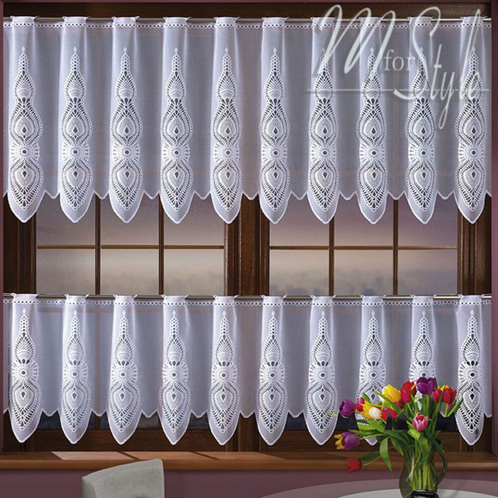 """White Cafe Net Curtain Sold By The Metre 20"""" Or 28"""" Drop"""