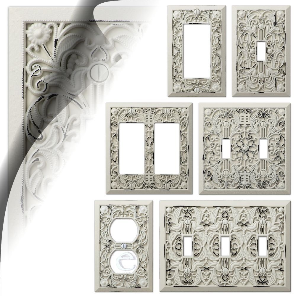 Wall Switch Plate Cover Filigree Antique White Arabesque