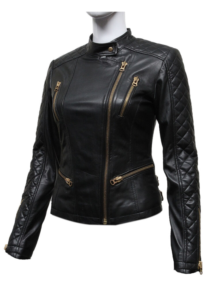 Size 8 24 New Womens Black Biker Diamond Quilted Leather