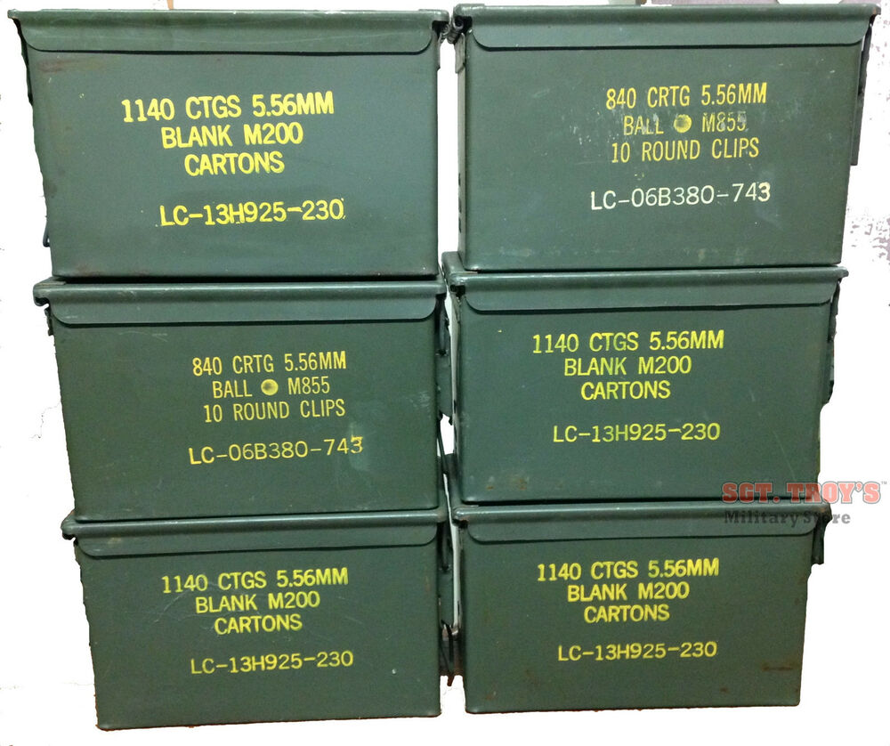 6 Pack 50 Caliber 5 56mm Ammo Can M2a1 50cal Metal Ammo