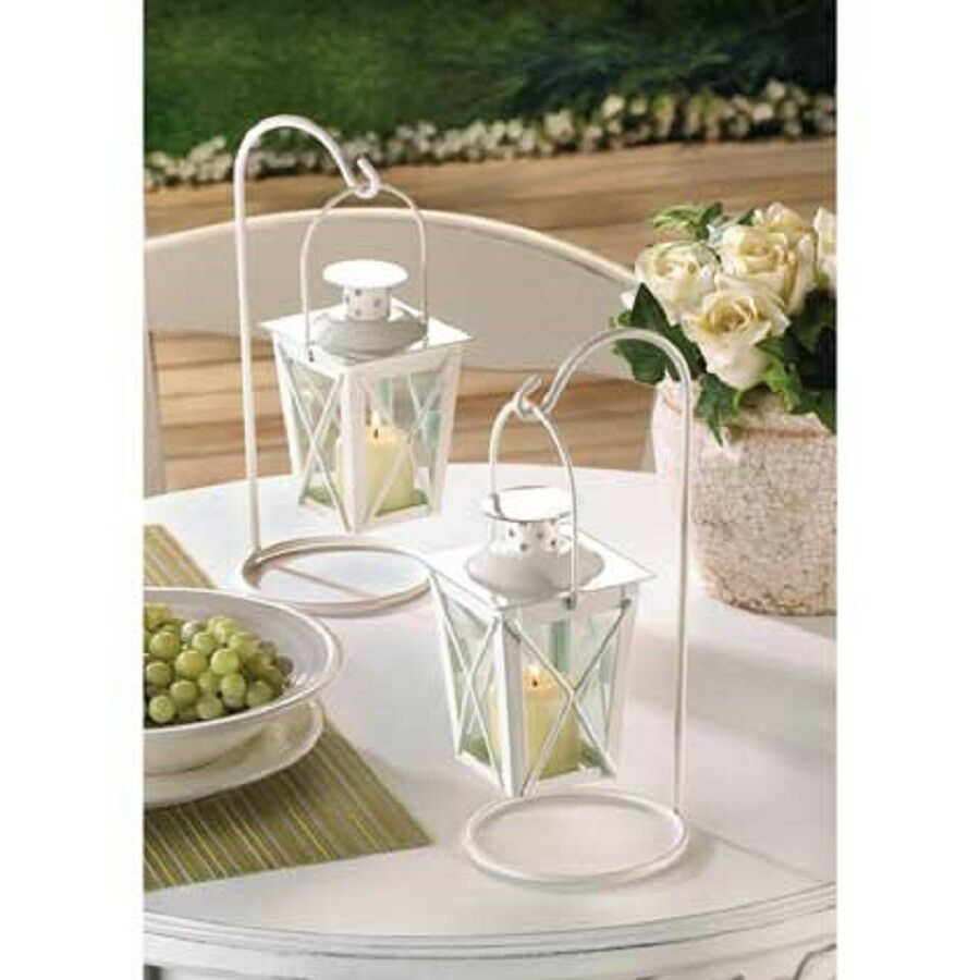 White mini lantern small candleholder wedding