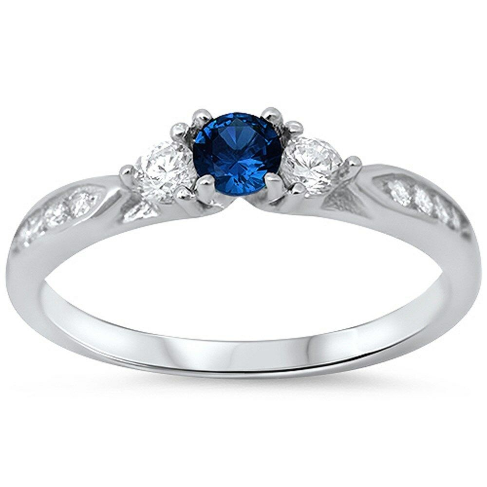 Blue Sapphire & Cubic Zirconia Promise 925 Sterling Silver Ring Sizes 3