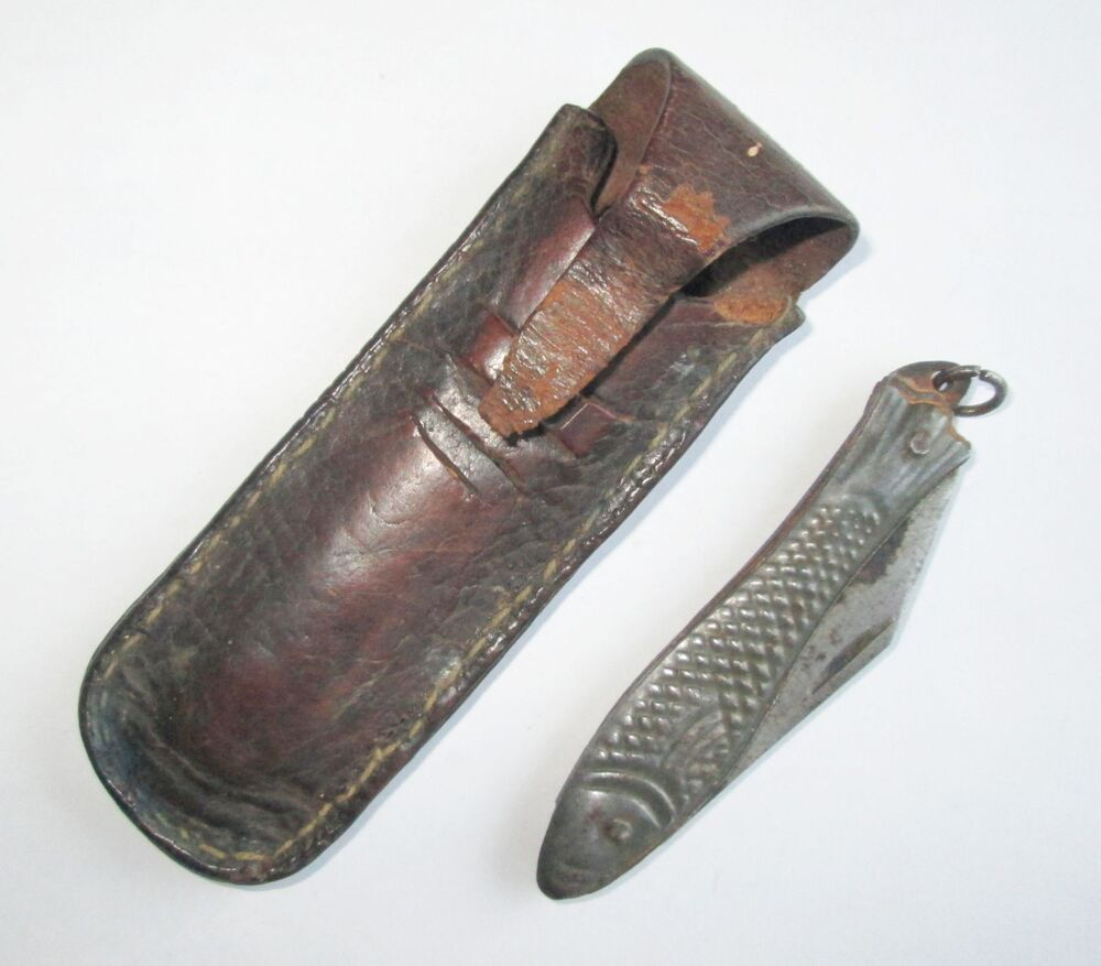 Antique custom made folding pocket knife with fish shaped for Case fishing knife