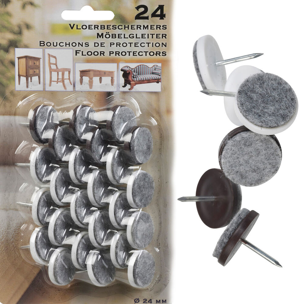 24 Felt Laminate Floor Protectors Brown White Furniture