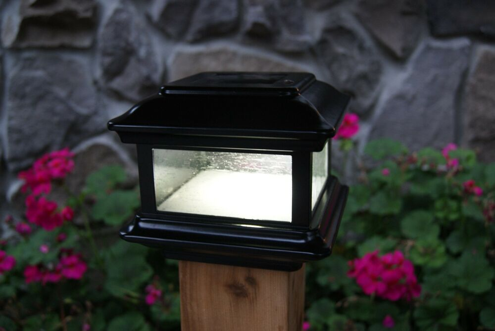 BLACK ALUMINUM SOLAR POST CAP LED DECK FENCE LIGHTS 4X4