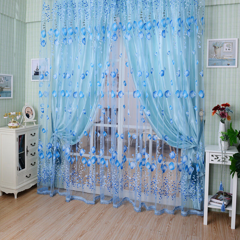 floral tulle voile door window curtain drape panel sheer scarf valances divider ebay