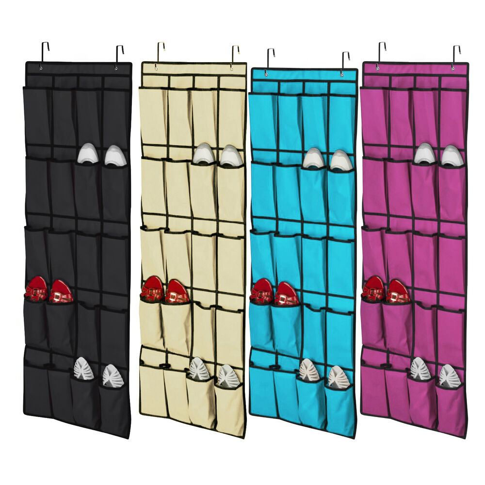 20 pocket over the door shoe organizer space saver rack hanging storage ebay. Black Bedroom Furniture Sets. Home Design Ideas