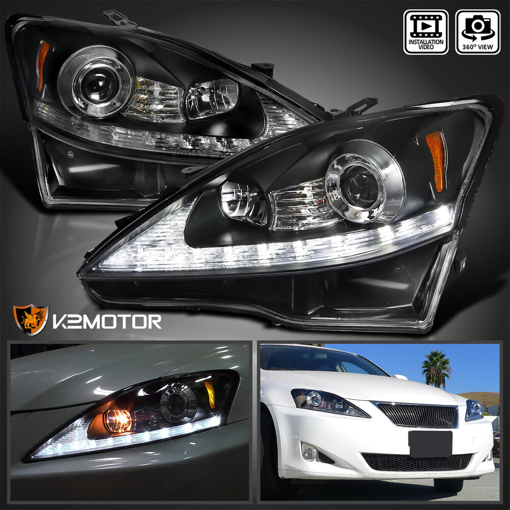 For 2006 2009 Lexus Is250 Is350 Black Led Drl Signal Strip