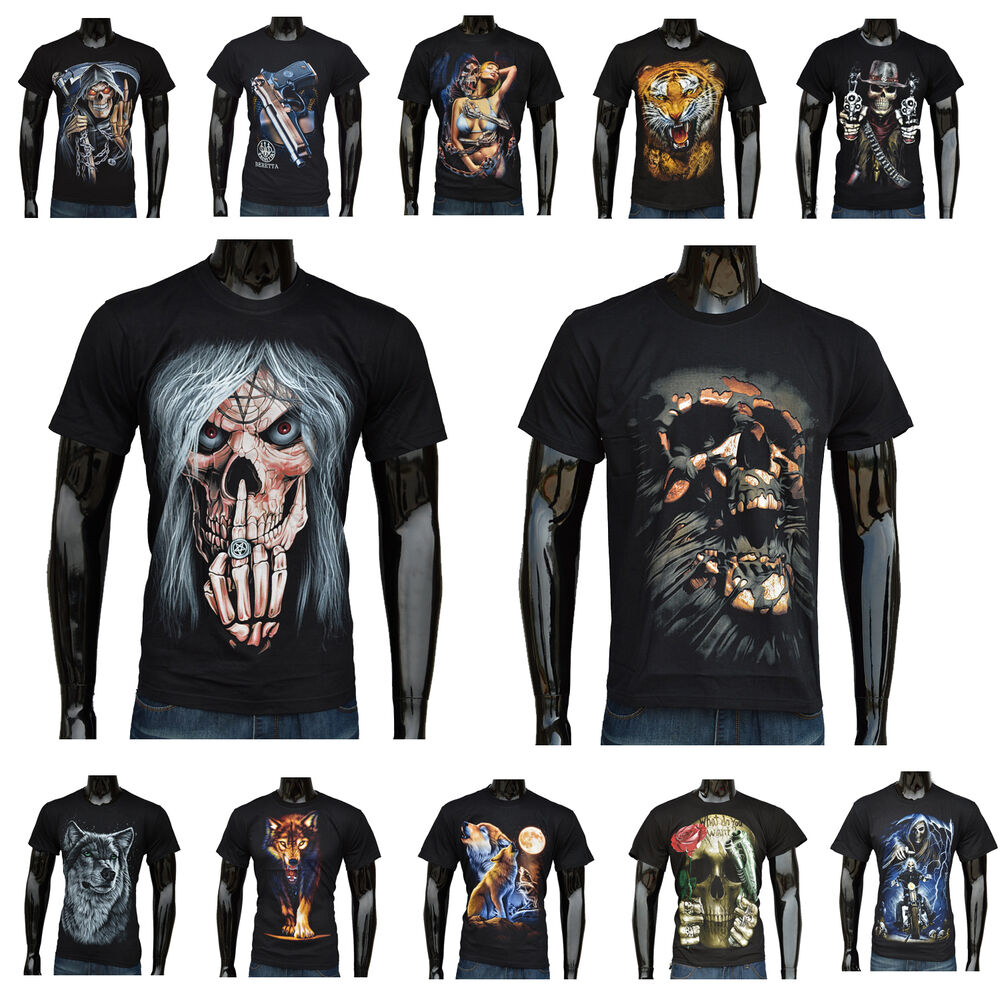 New Mens 3D Print Funny Skull Men T Shirt Short Sleeve Tee
