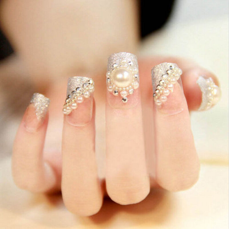 3d diy white nail art tips pearl acrylic gem glitter for 3d nail art decoration