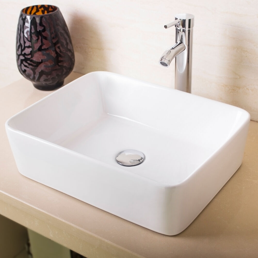 New bathroom rectangle white porcelain ceramic vessel sink chrome faucet combo ebay for White porcelain bathroom faucets