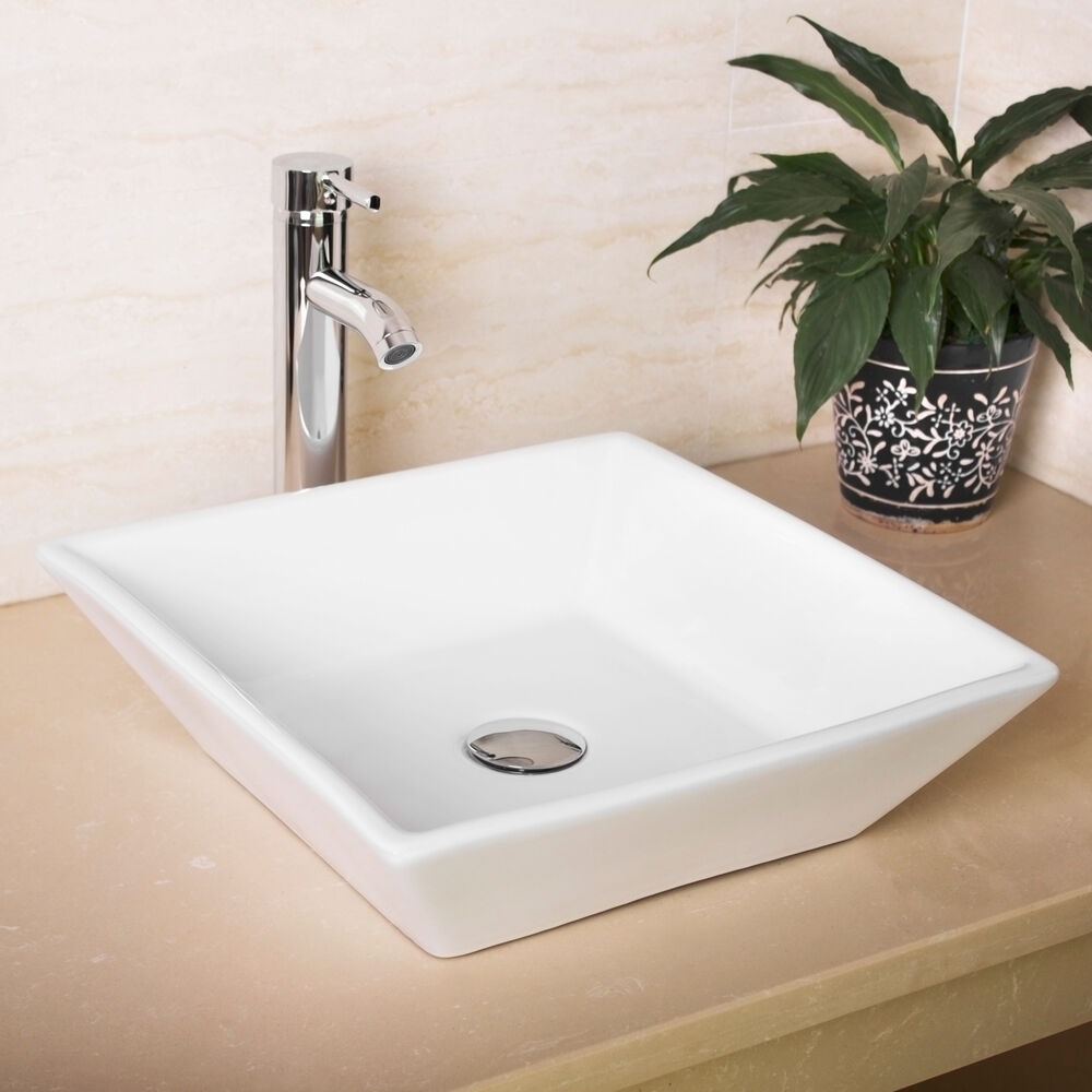 new bathroom white square porcelain ceramic vessel sink bowl chrome faucet combo ebay. Black Bedroom Furniture Sets. Home Design Ideas