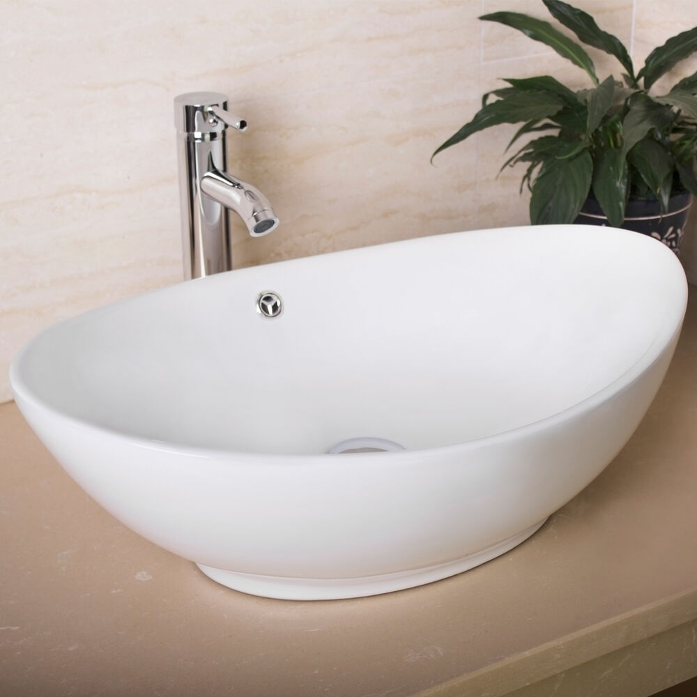Oval egg porcelain ceramic bathroom faucet vessel sink vanity popup drain combo ebay for White porcelain bathroom faucets