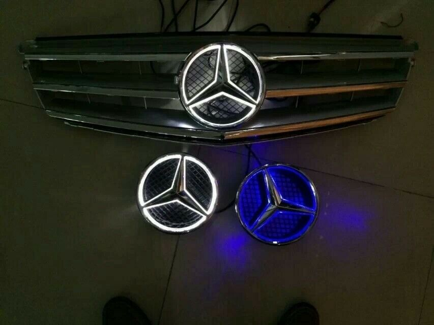 Led car front grille led logo badge emblem for mercedes for Mercedes benz front emblem