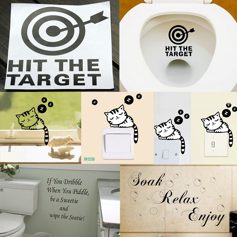 Funny Toilet Peek Sign Sticker: Funny Toilet Sticker Design PUT ME DOWN Sign Decal