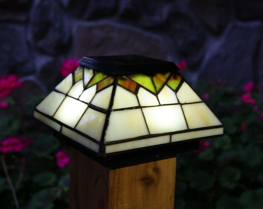 6 PACK WELLINGTON SOLAR POST CAP LED DECK FENCE LIGHTS STAINED GLASS 5X5 u0026 4X4 : eBay