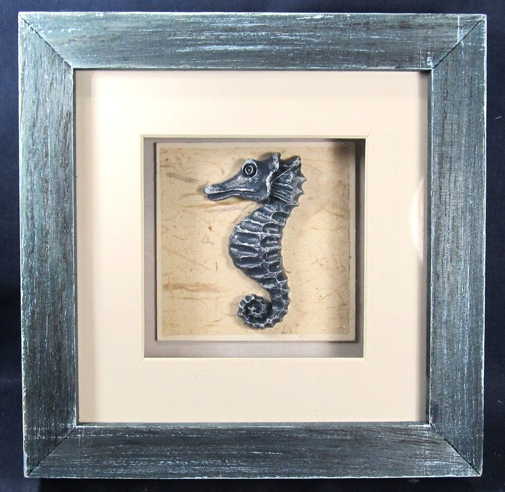 Seahorse shadow box nautical sea life wall art home decor for Wall art images home decor