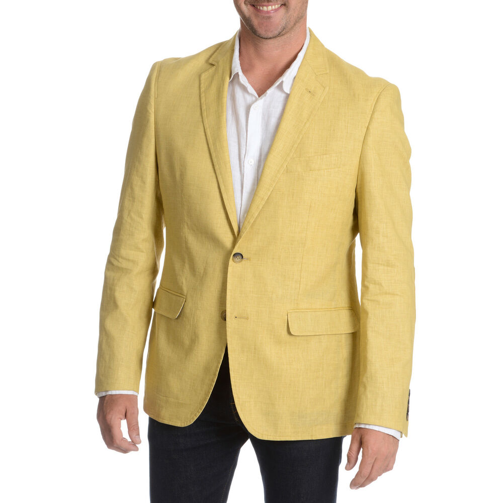 daniel hechter men 39 s lemon garment wash linen sport coat. Black Bedroom Furniture Sets. Home Design Ideas