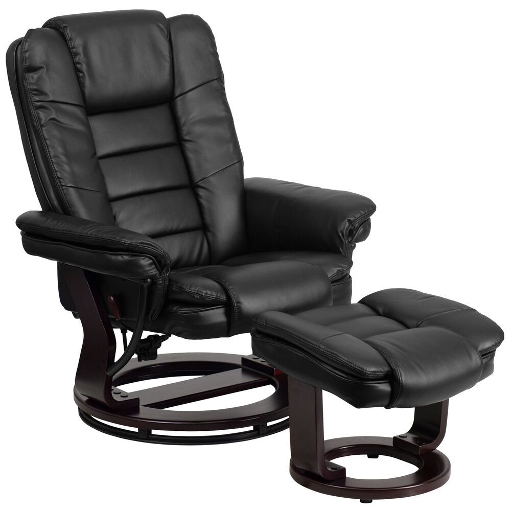 Contemporary Leather Recliner And Ottoman With Swiveling