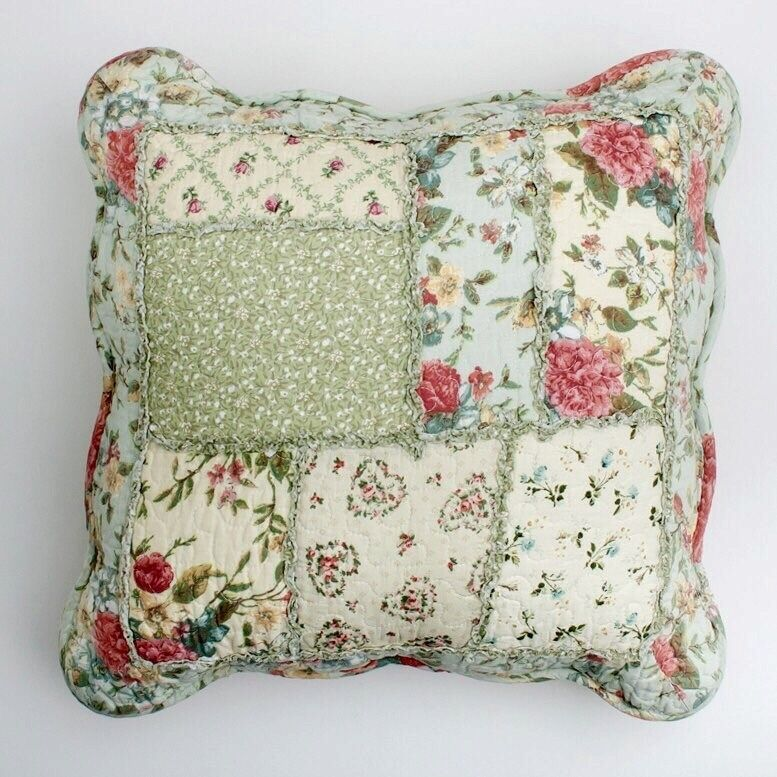 Diy Quilted Throw Pillow : Shabby Chic Throw Cushion / Pillow Cover Pink Powder Blue Green Patchwork 45cm eBay
