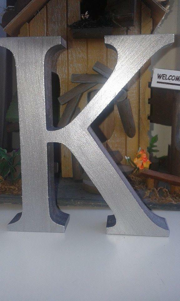 Silver free standing 13cm large wooden letters and signs for Large freestanding wooden letters