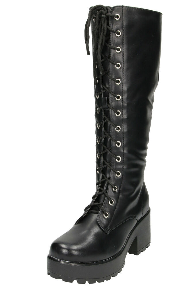 466cc4864537 Details about Black Chunky Heel Platform Gothic Punk Knee High Mid Combat Lace  Up Boots