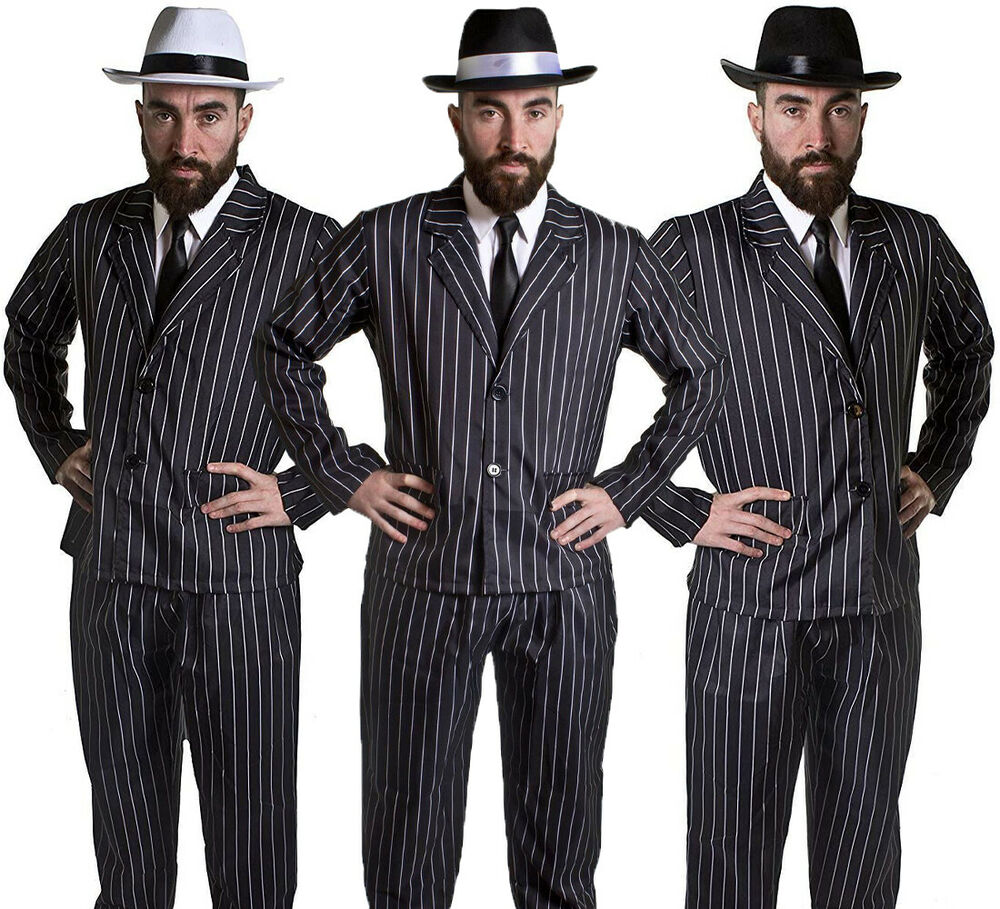 Unique Mens Gangster Suit Costume Godfather Adult 1920s Mafia Fancy Dress Plus Size Out | EBay