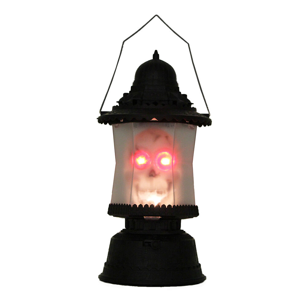 Led skull lantern music sounds light up scary skeleton for Decoration lamps