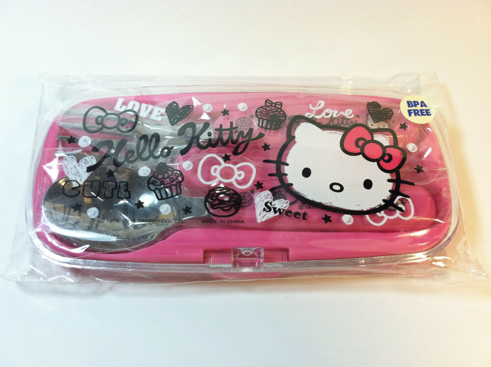 Hello Kitty Squishy Carrying Case : Hello Kitty Kids Spoon & Fork Set In Carry Case Squiggle Kitty Design by Sanrio eBay