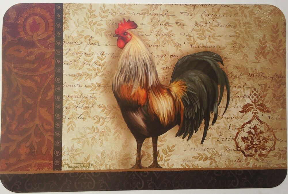 Kitchen Rooster Theme Vinyl Placemats Select Rooster Theme Ebay
