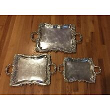 VINTAGE SET OF 3 SOLID 915 SPANISH SILVER  STERLING SERVING TRAY TRAYS!