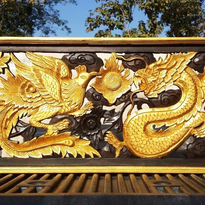 Golden dragon and phoenix carving panel thai art wall