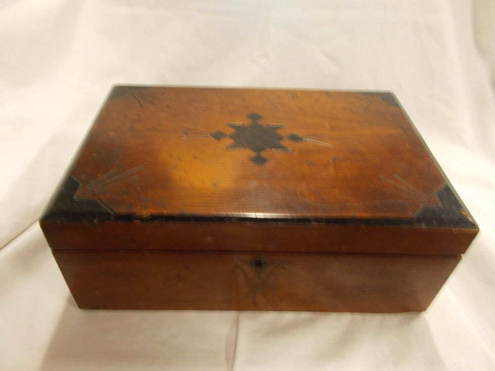 Antique Wooden Writing Lap Desk Box with Ink Wells C 1862 ...