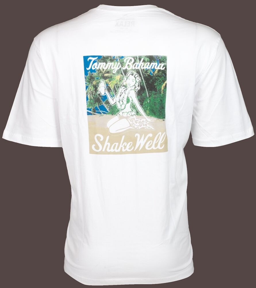 Tommy bahama mens t shirt shake well hula girl drink white for Where to buy tommy bahama shirts