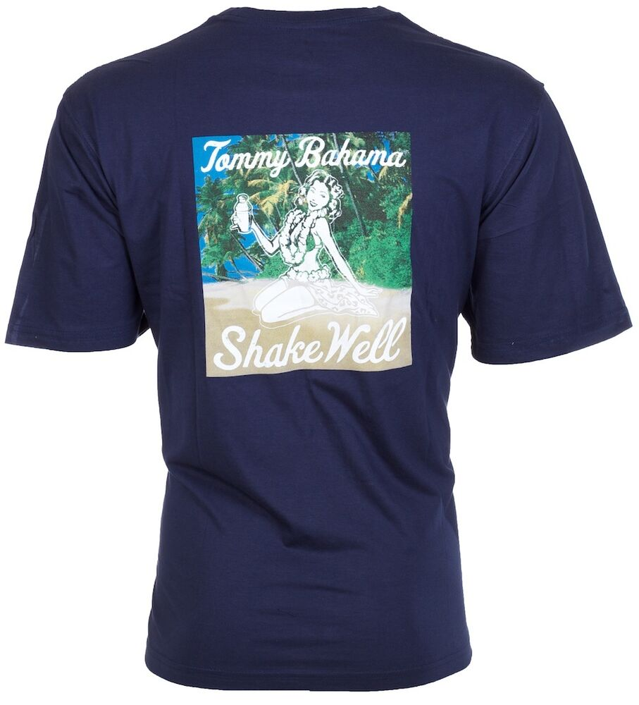 40c5d1dbdf326 Details about TOMMY BAHAMA Mens T-Shirt SHAKE WELL Hula Girl Drink NAVY  Relax Camp XL-3XL  45