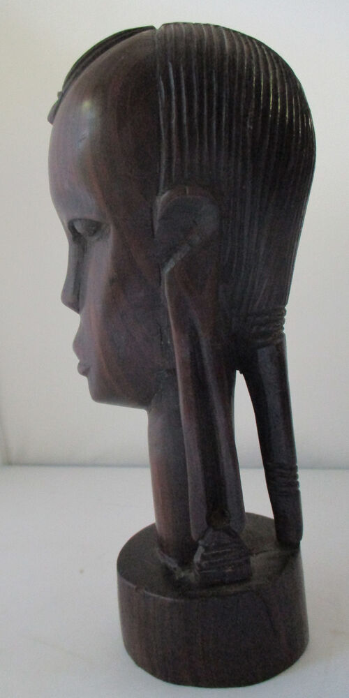 Vintage african maasai carved ebony wood head sculpture