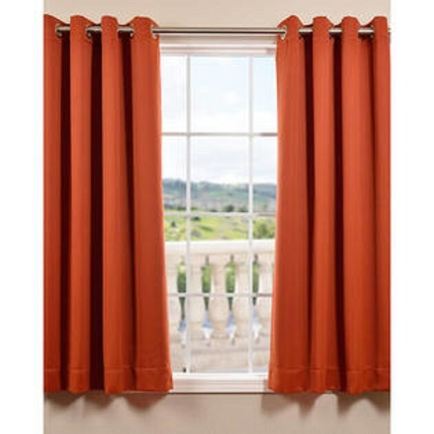 Orange Solid Panel Thermal Lined Blackout Grommet Window Curtain K32 ...