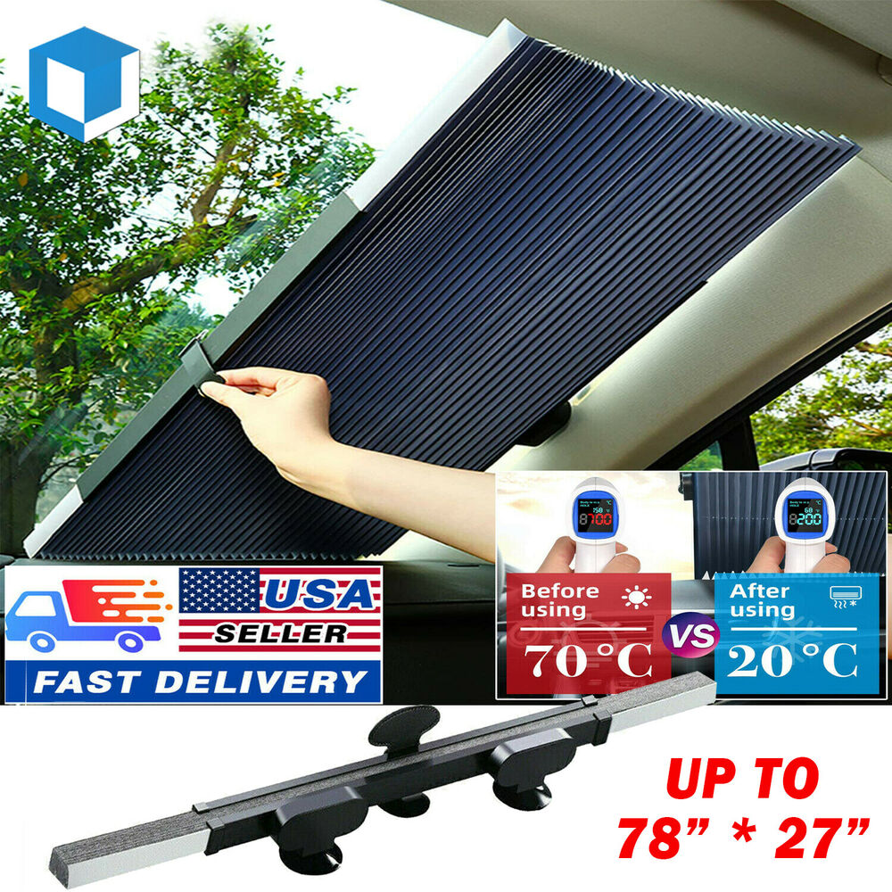 foldable front sun visor suv windshield sun protector cool product car sunshade ebay. Black Bedroom Furniture Sets. Home Design Ideas