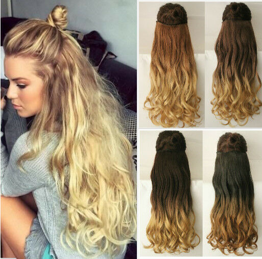 Thick One Piece Full Head Ombre Clip in Hair Extensions Like Human 17 ...