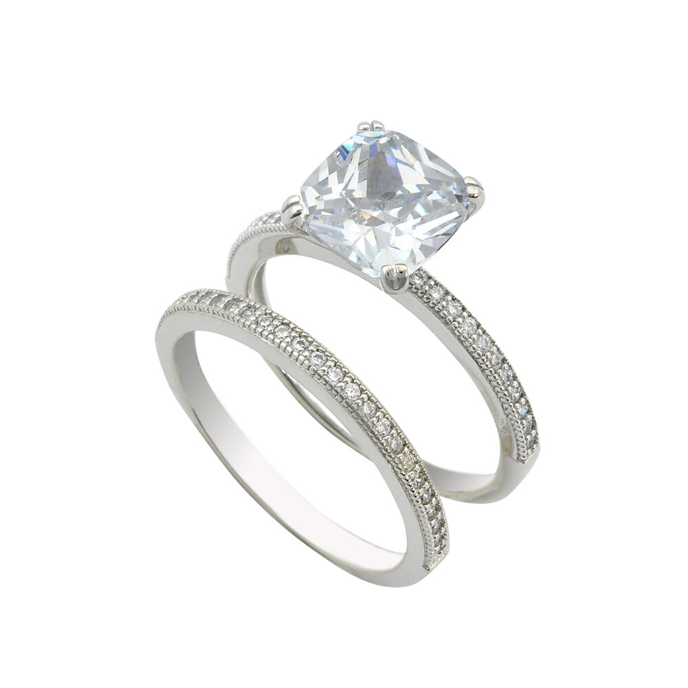 sterling silver bridal ring set 2 5ct cubic zirconia