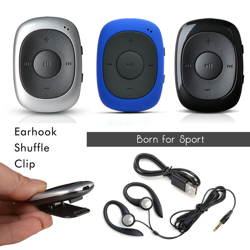portable usb clip mp3 music player shuffle fm radio 8 16gb with earhook headset ebay. Black Bedroom Furniture Sets. Home Design Ideas