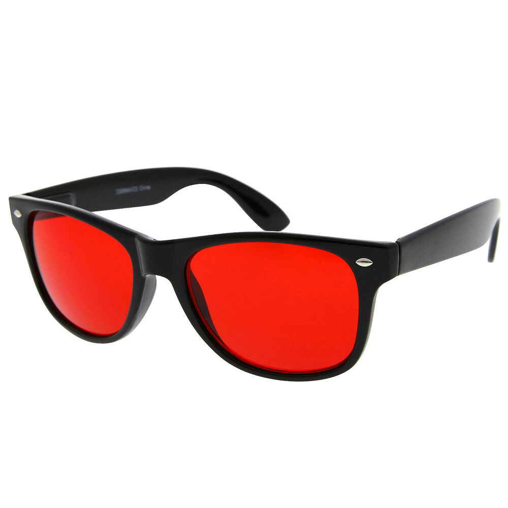 4fc5592142e2 Red Lens Glasses Sunglasses Wayfarer Men Womens Aviator Black Classic Retro  Tint